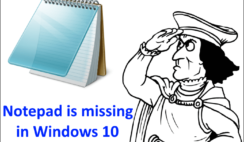 Notepad is missing in Windows 10